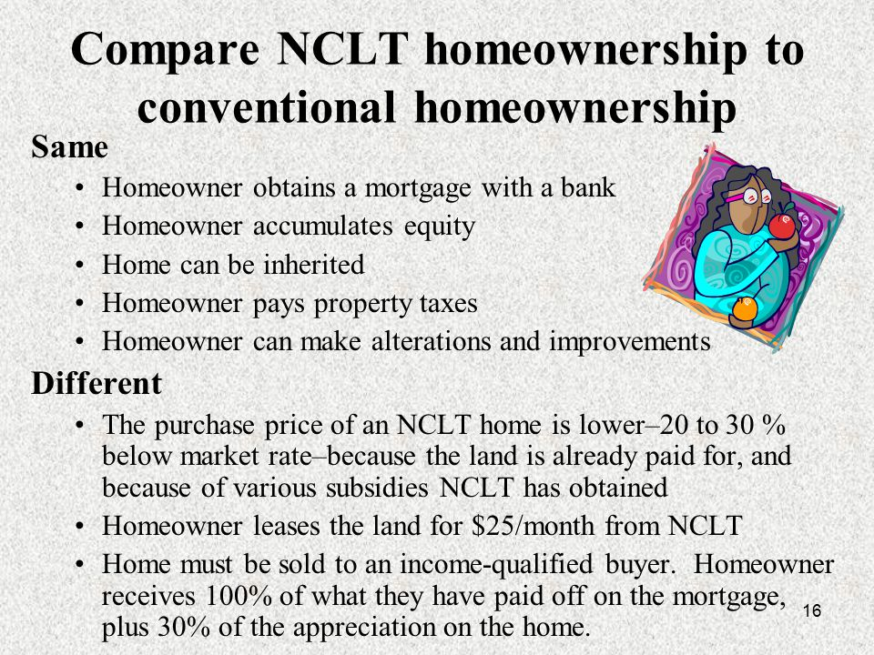 16 Compare NCLT homeownership to conventional homeownership Same Homeowner obtains a mortgage with a bank Homeowner accumulates equity Home can be inherited Homeowner pays property taxes Homeowner can make alterations and improvements Different The purchase price of an NCLT home is lower–20 to 30 % below market rate–because the land is already paid for, and because of various subsidies NCLT has obtained Homeowner leases the land for $25/month from NCLT Home must be sold to an income-qualified buyer.