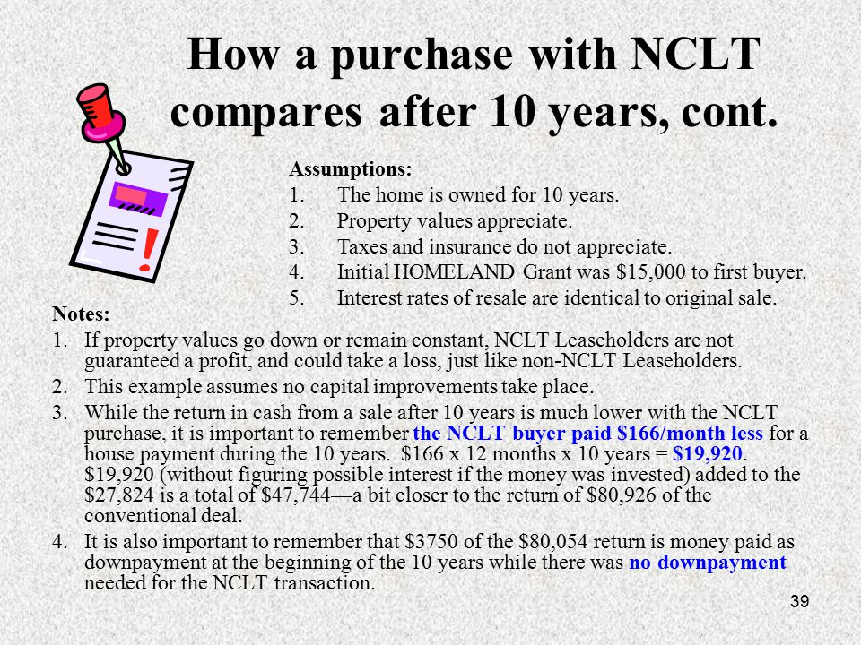 39 How a purchase with NCLT compares after 10 years, cont.