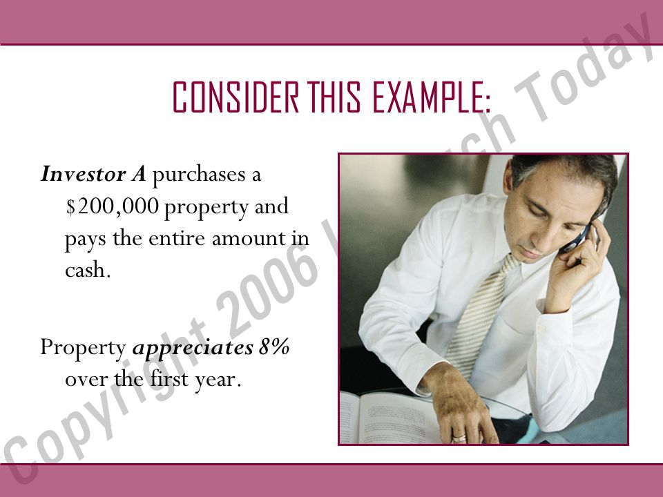 CONSIDER THIS EXAMPLE: Investor A purchases a $200,000 property and pays the entire amount in cash.