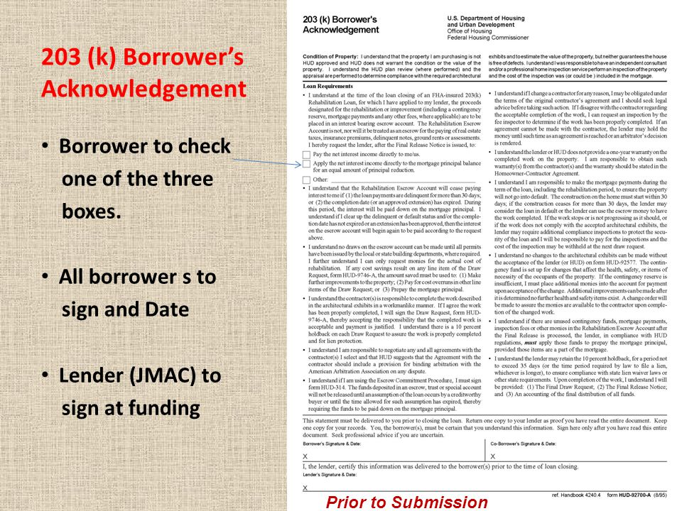 203 (k) Borrower's Acknowledgement Borrower to check one of the three boxes.
