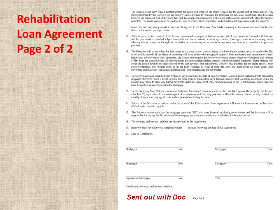 Rehabilitation Loan Agreement Page 2 of 2 Sent out with Doc