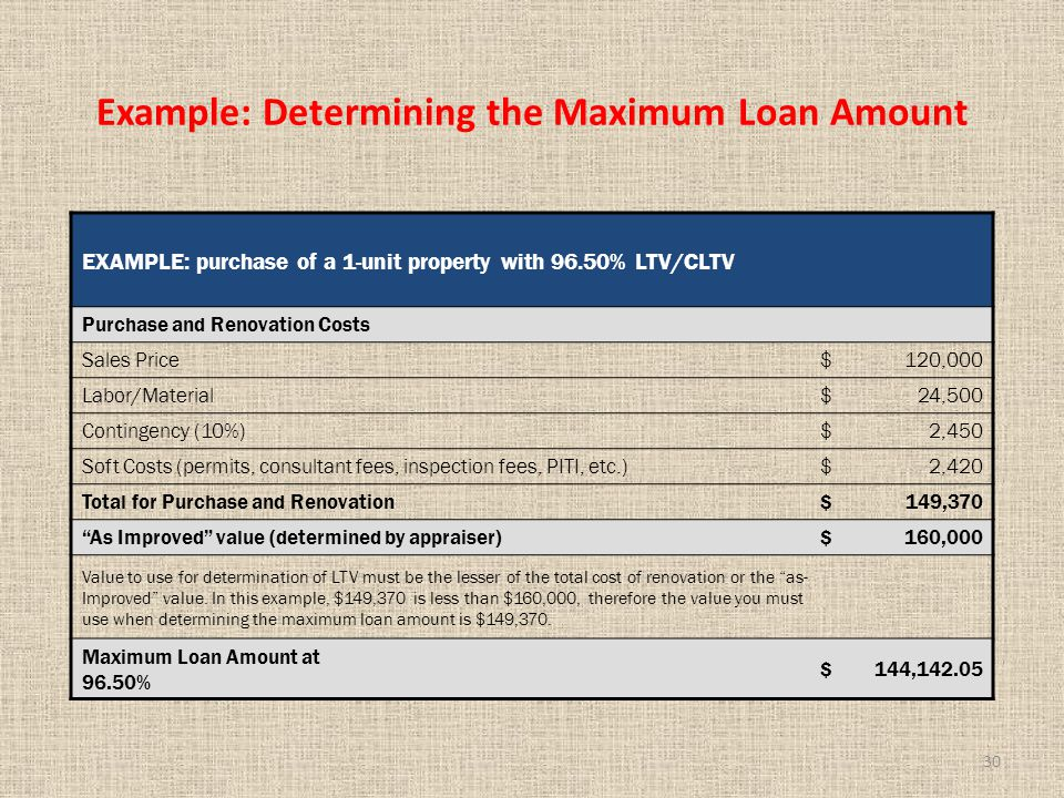 30 Example: Determining the Maximum Loan Amount EXAMPLE: purchase of a 1-unit property with 96.50% LTV/CLTV Purchase and Renovation Costs Sales Price$120,000 Labor/Material$24,500 Contingency (10%)$2,450 Soft Costs (permits, consultant fees, inspection fees, PITI, etc.)$2,420 Total for Purchase and Renovation$149,370 As Improved value (determined by appraiser)$160,000 Value to use for determination of LTV must be the lesser of the total cost of renovation or the as- Improved value.