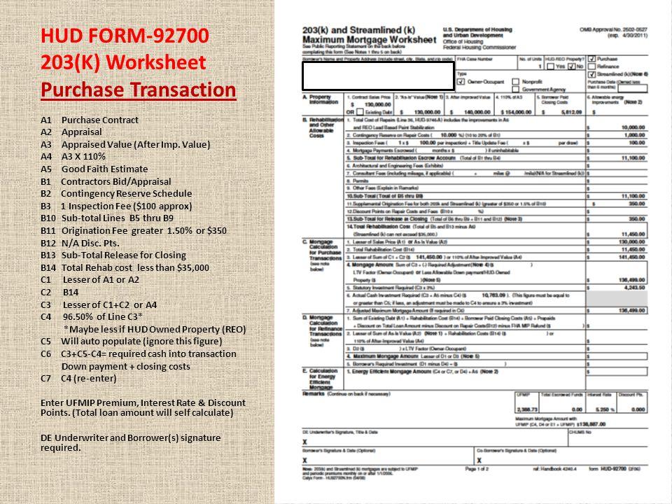 HUD FORM-92700 203(K) Worksheet Refinance Transaction A1 Existing Liens for Refinance A2 Existing Liens for a Refinance A3 Appraised Value A4 A3 X 110% A5 Good Faith Estimate B1 Contractors Bid/Appraisal B2 Contingency Reserve Schedule B3 1 Inspection Fee ($100 approx) B10 Sub-total Lines B5 thru B9 B11 Origination Fee greater 1.50% or $350 B12 N/A Disc.