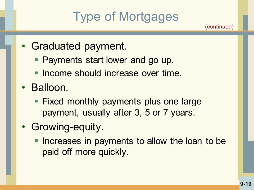 Type of Mortgages Graduated payment.  Payments start lower and go up.  Income should increase over time. Balloon.  Fixed monthly payments plus one