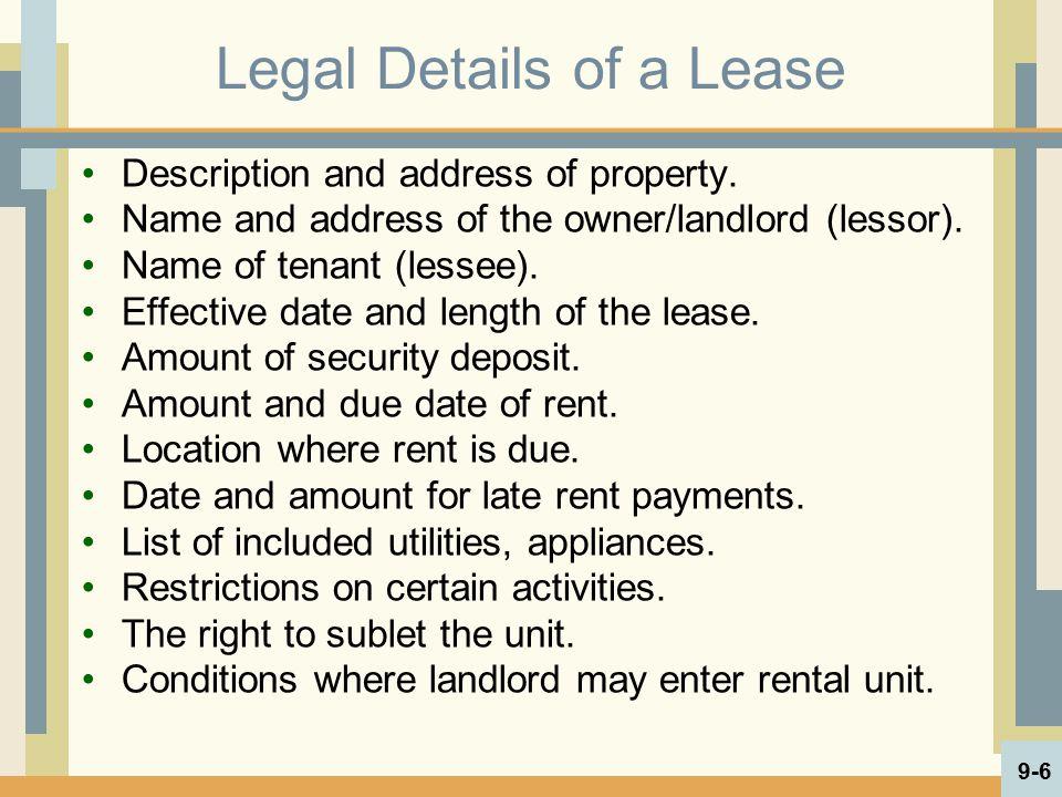 Housing Rental Activities Living in rental property.