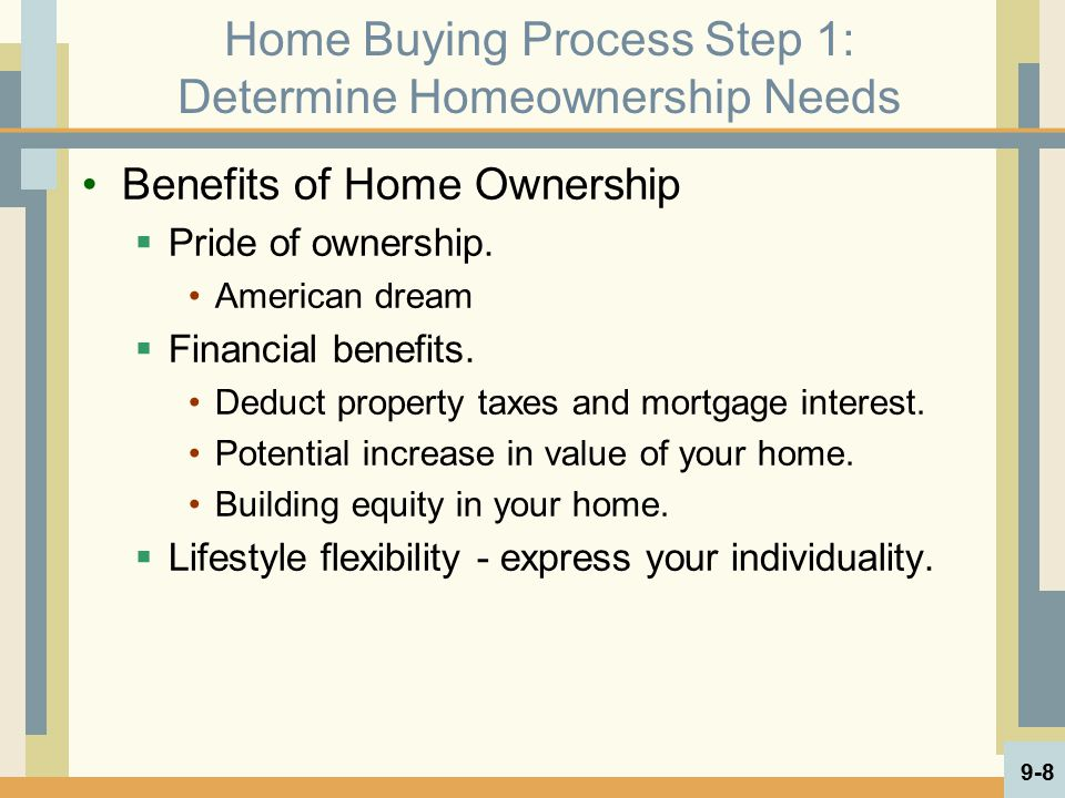 Home Buying Process Step 1: Determine Homeownership Needs Benefits of Home Ownership  Pride of ownership. American dream  Financial benefits. Deduct
