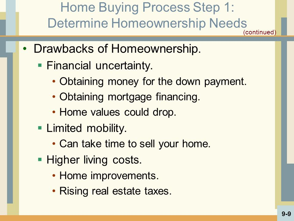 Home Buying Process Step 1: Determine Homeownership Needs Drawbacks of Homeownership.  Financial uncertainty. Obtaining money for the down payment. O