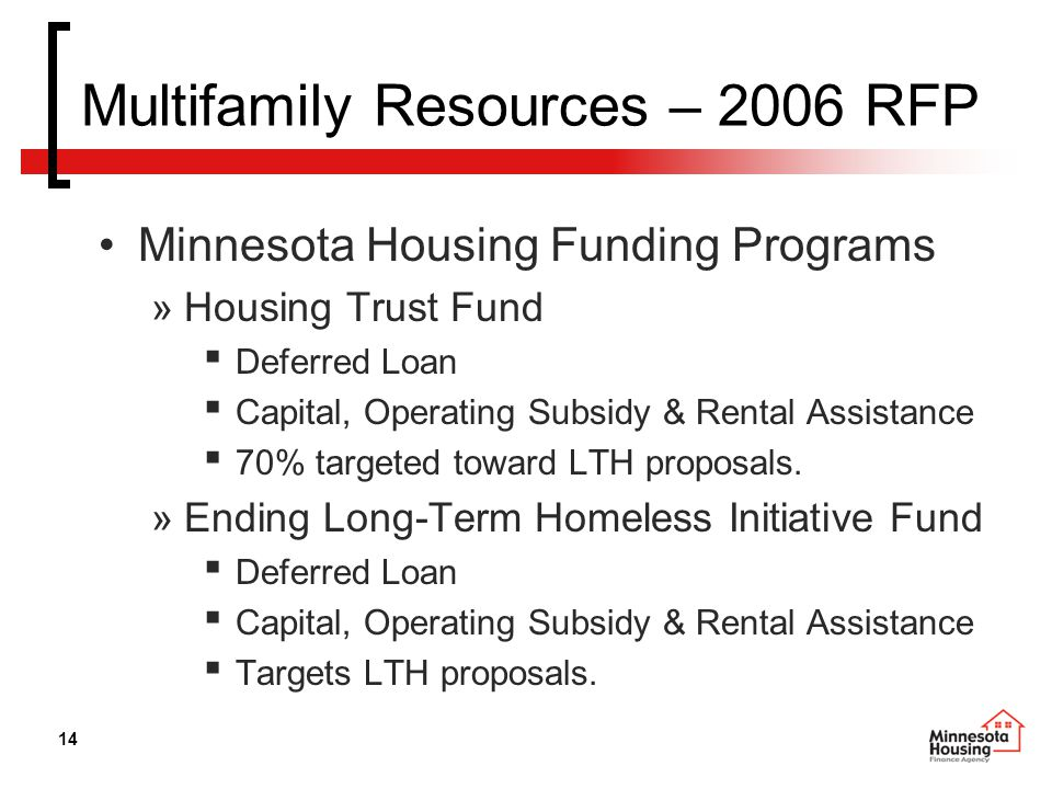 14 Multifamily Resources – 2006 RFP Minnesota Housing Funding Programs »Housing Trust Fund ▪ Deferred Loan ▪ Capital, Operating Subsidy & Rental Assistance ▪ 70% targeted toward LTH proposals.
