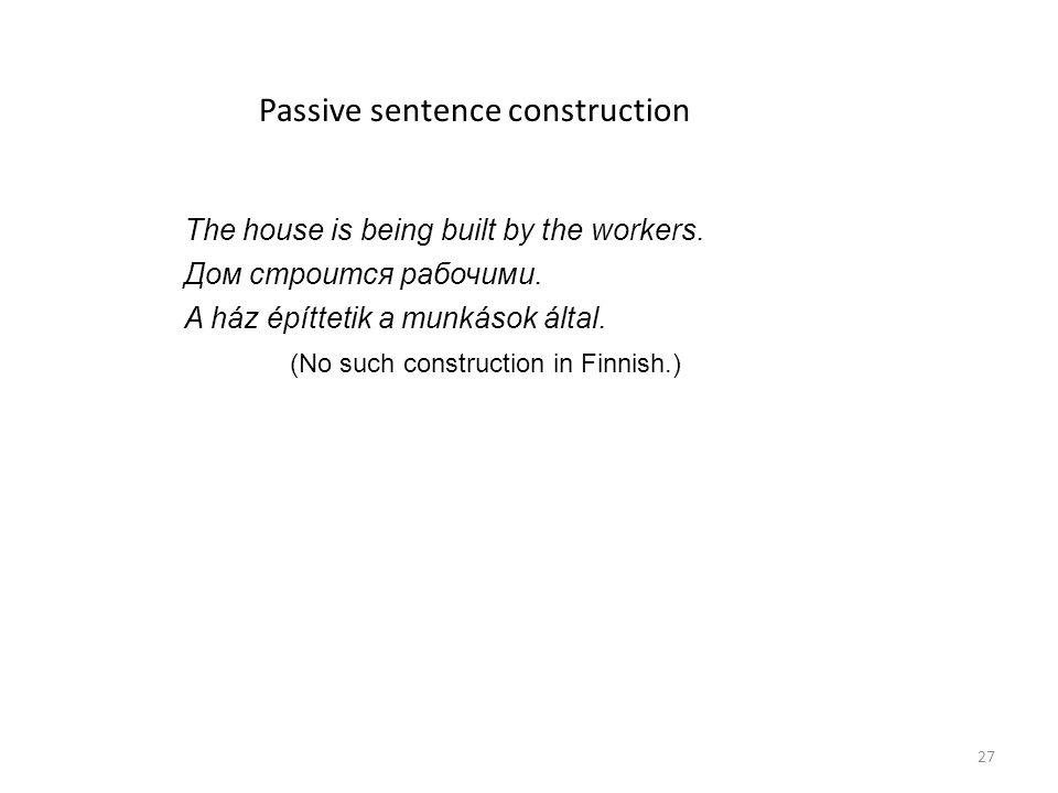 Passive sentence construction The house is being built by the workers. Дом строится рабочими. A ház építtetik a munkások által. (No such construction