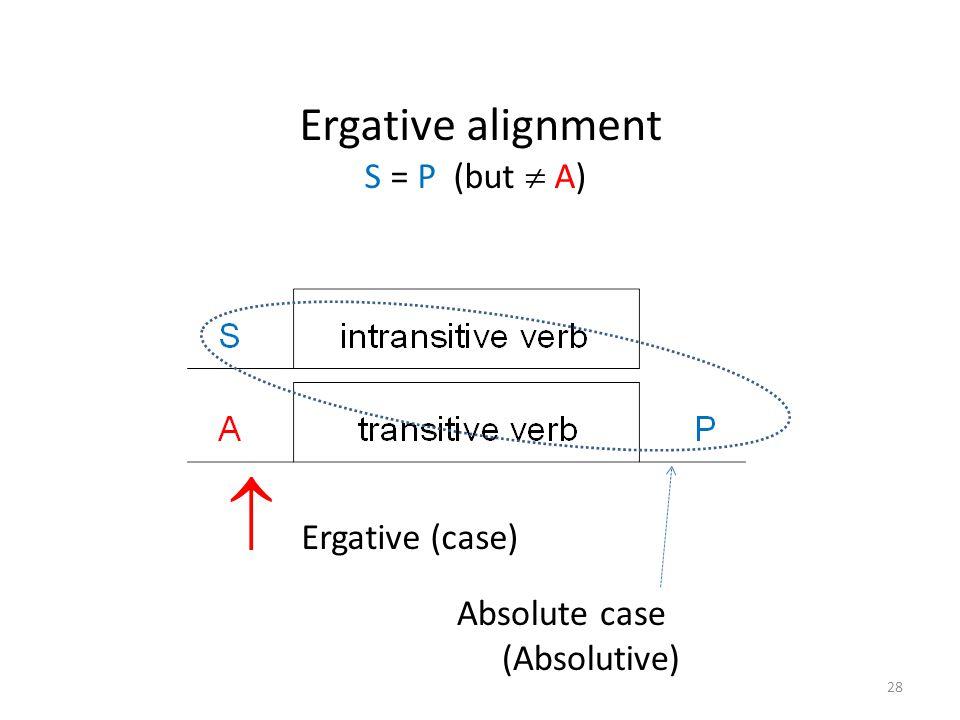 Ergative alignment S = P (but  A)  Ergative (case) Absolute case (Absolutive) 28
