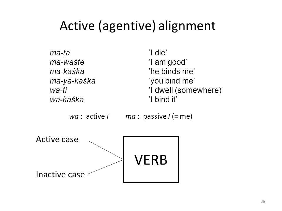 ma-ţa 'I die' ma-waśte 'I am good' ma-kaśka 'he binds me' ma-ya-kaśka 'you bind me' wa-ti 'I dwell (somewhere)' wa-kaśka 'I bind it' Active (agentive) alignment VERB Active case Inactive case wa : active Ima : passive I (= me) 38