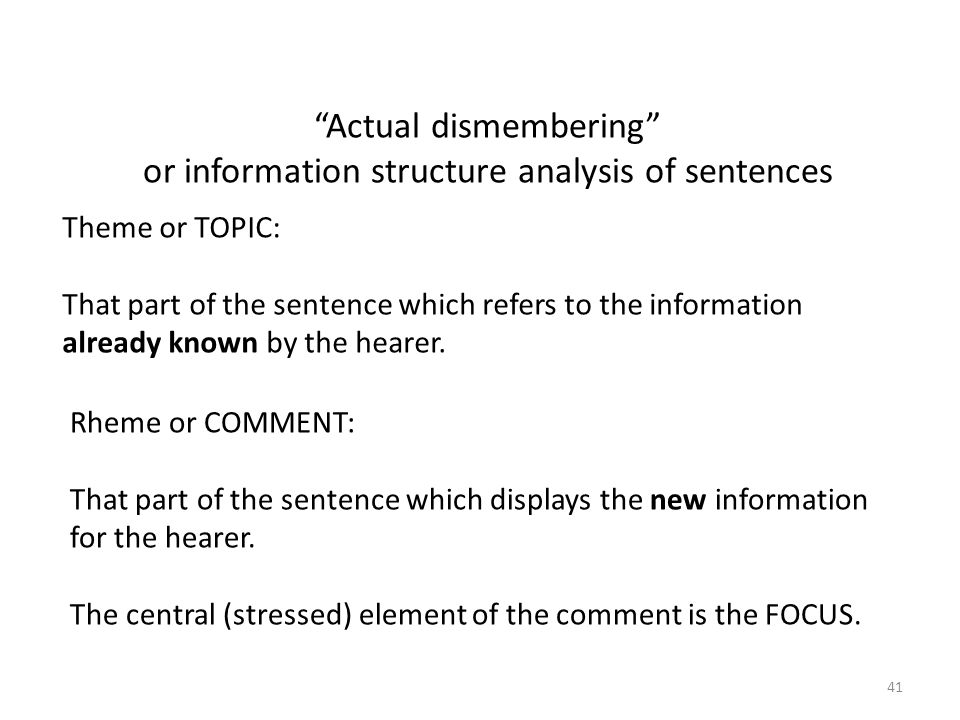 Theme or TOPIC: That part of the sentence which refers to the information already known by the hearer.