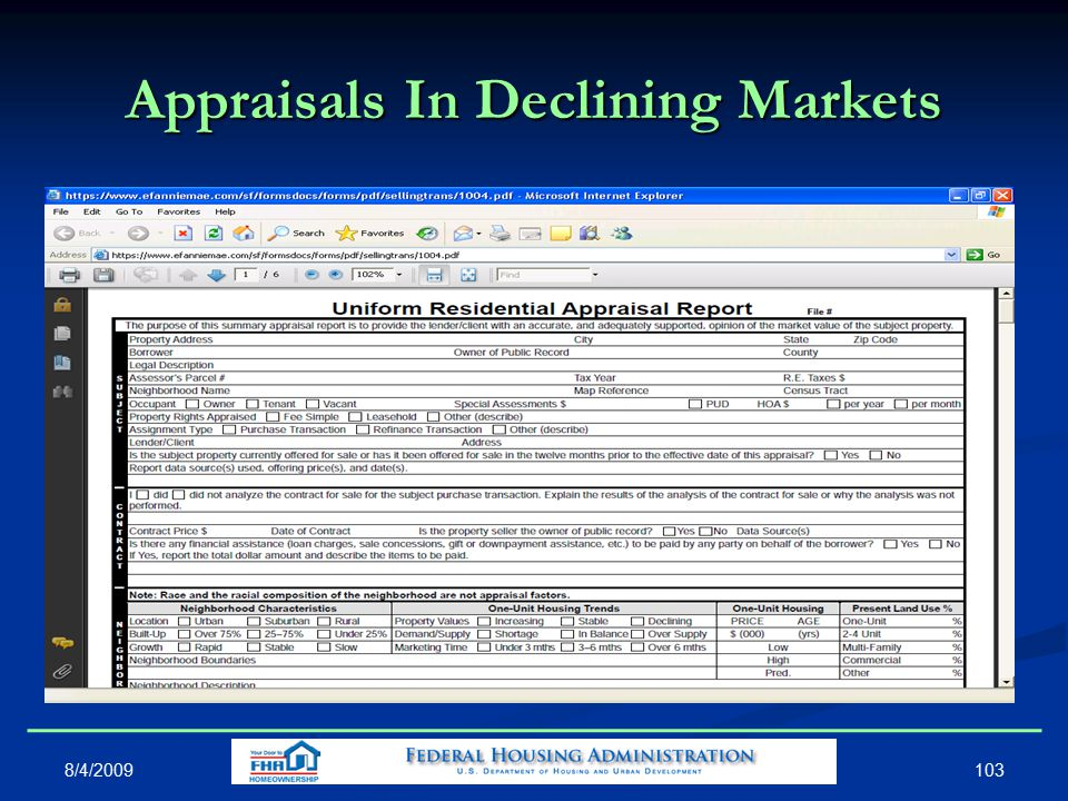 Appraisals In Declining Markets 103 8/4/2009