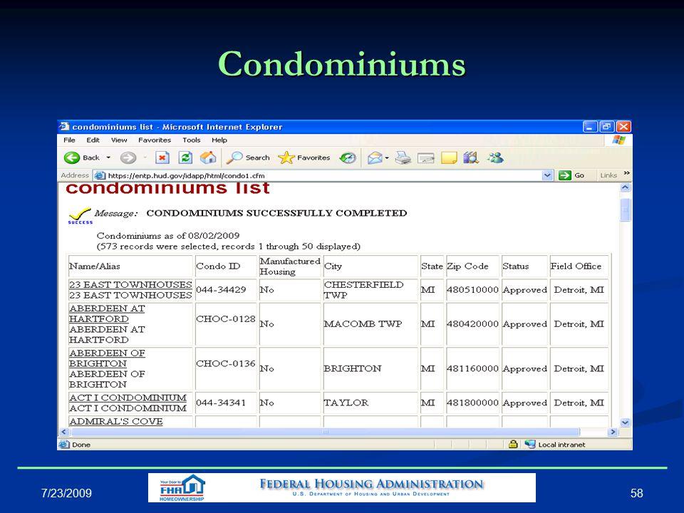 Condominiums 58 7/23/2009