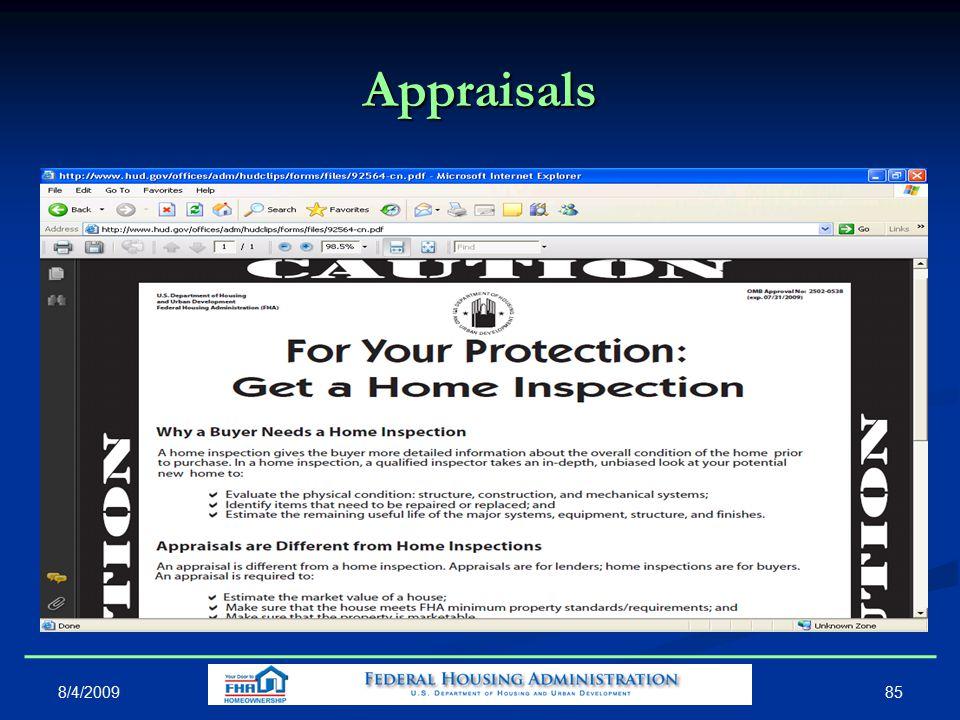 Appraisals 8/4/2009 85