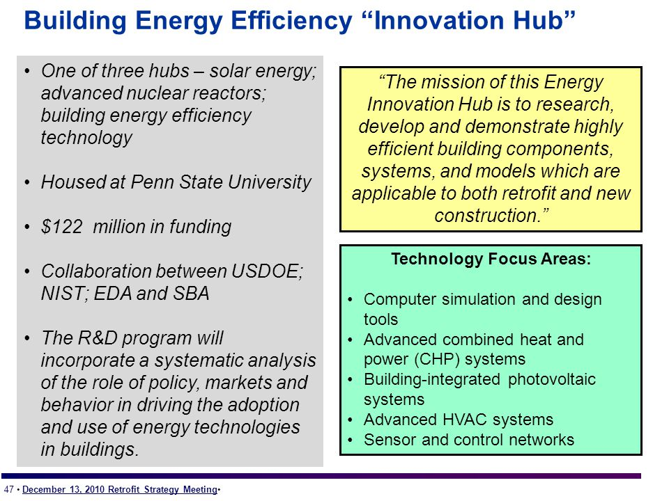 47 December 13, 2010 Retrofit Strategy Meeting Building Energy Efficiency Innovation Hub One of three hubs – solar energy; advanced nuclear reactors; building energy efficiency technology Housed at Penn State University $122 million in funding Collaboration between USDOE; NIST; EDA and SBA The R&D program will incorporate a systematic analysis of the role of policy, markets and behavior in driving the adoption and use of energy technologies in buildings.