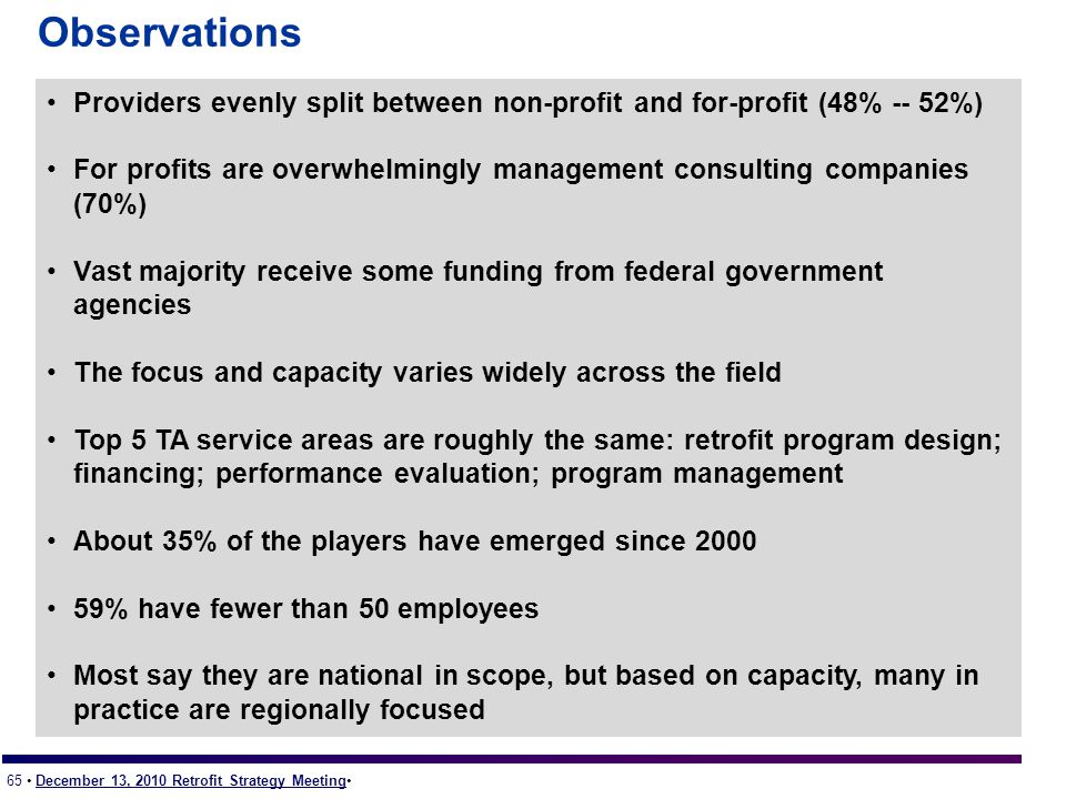 65 December 13, 2010 Retrofit Strategy Meeting Observations Providers evenly split between non-profit and for-profit (48% -- 52%) For profits are overwhelmingly management consulting companies (70%) Vast majority receive some funding from federal government agencies The focus and capacity varies widely across the field Top 5 TA service areas are roughly the same: retrofit program design; financing; performance evaluation; program management About 35% of the players have emerged since 2000 59% have fewer than 50 employees Most say they are national in scope, but based on capacity, many in practice are regionally focused