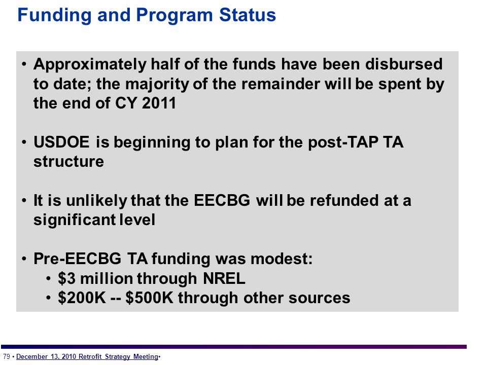 79 December 13, 2010 Retrofit Strategy Meeting Funding and Program Status Approximately half of the funds have been disbursed to date; the majority of the remainder will be spent by the end of CY 2011 USDOE is beginning to plan for the post-TAP TA structure It is unlikely that the EECBG will be refunded at a significant level Pre-EECBG TA funding was modest: $3 million through NREL $200K -- $500K through other sources