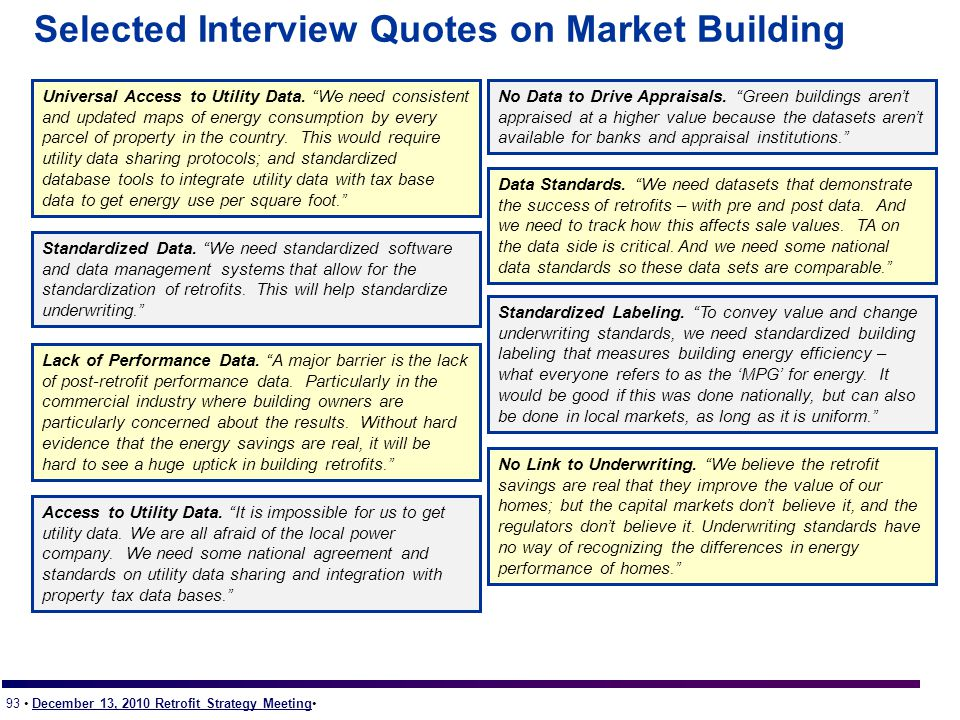 93 December 13, 2010 Retrofit Strategy Meeting Selected Interview Quotes on Market Building Lack of Performance Data.