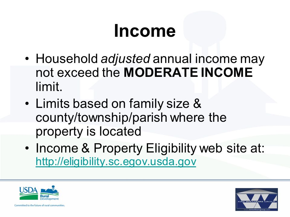 Income Household adjusted annual income may not exceed the MODERATE INCOME limit.