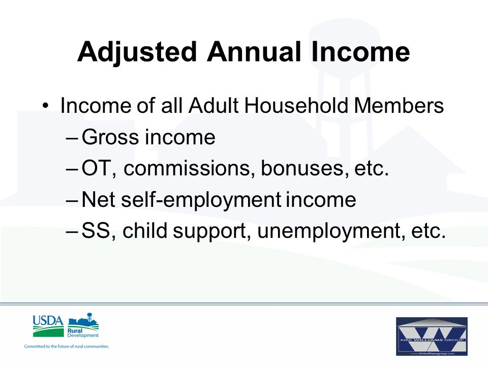 Adjustments –$480 per minor or full-time student –Verified child care expenses –$400 where borrower or co-borrower is elderly or disabled Adjusted Annual Income