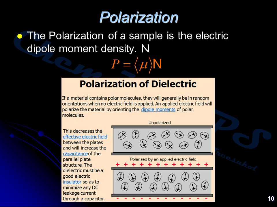 Chem:KU-KPS Piti Treesukol 10 Polarization The Polarization of a sample is the electric dipole moment density.