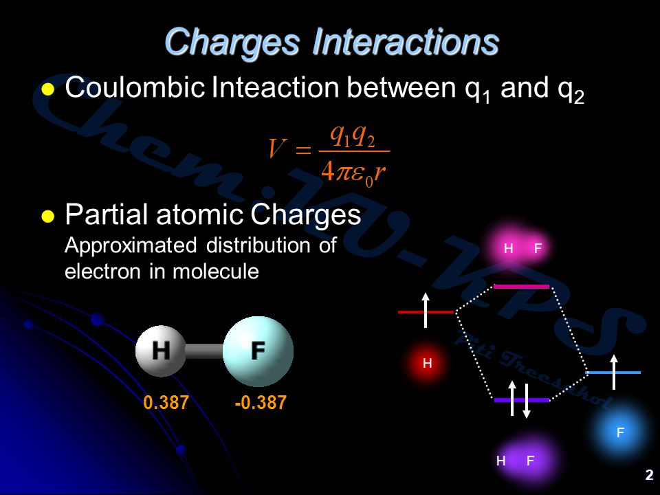Chem:KU-KPS Piti Treesukol 2 Charges Interactions Coulombic Inteaction between q 1 and q 2 Partial atomic Charges Approximated distribution of electron in molecule 0.387 -0.387 H F H F