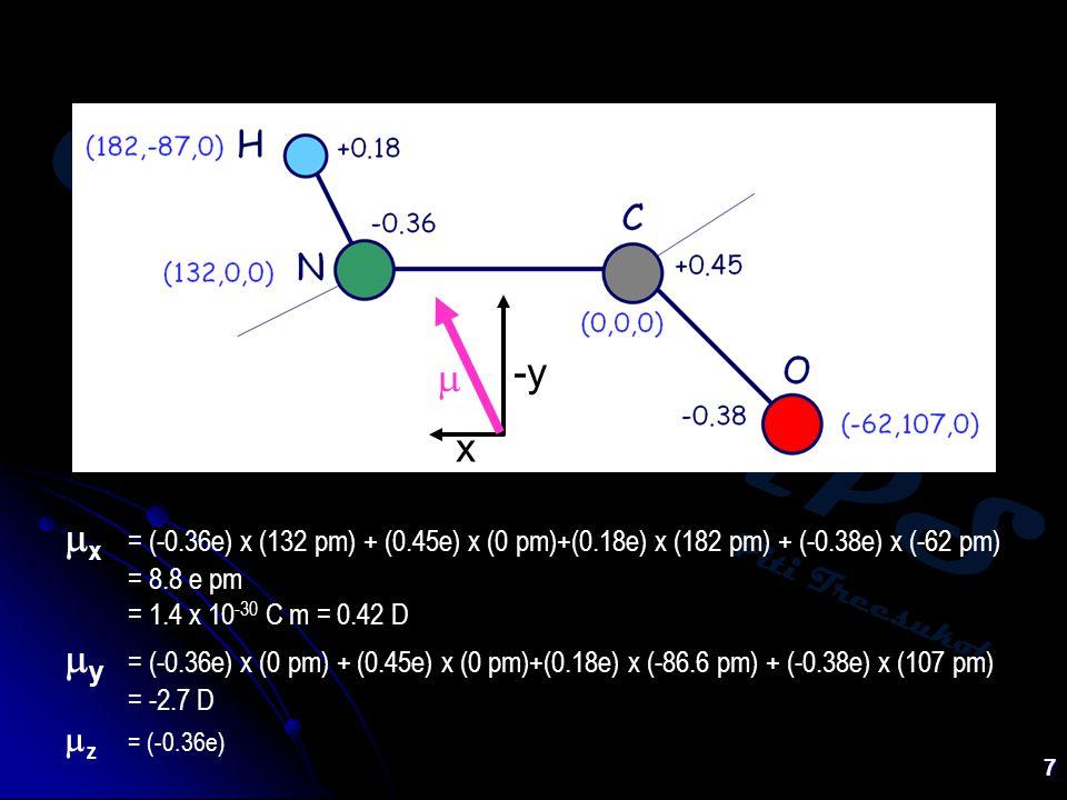 Chem:KU-KPS Piti Treesukol 7  x = (-0.36e) x (132 pm) + (0.45e) x (0 pm)+(0.18e) x (182 pm) + (-0.38e) x (-62 pm) = 8.8 e pm = 1.4 x 10 -30 C m = 0.42 D  y = (-0.36e) x (0 pm) + (0.45e) x (0 pm)+(0.18e) x (-86.6 pm) + (-0.38e) x (107 pm) = -2.7 D  z = (-0.36e) -y x 