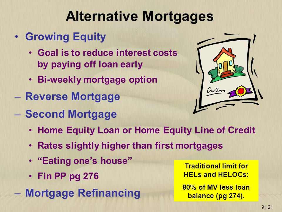 9   21 Growing Equity Goal is to reduce interest costs by paying off loan early Bi-weekly mortgage option –Reverse Mortgage –Second Mortgage Home Equi