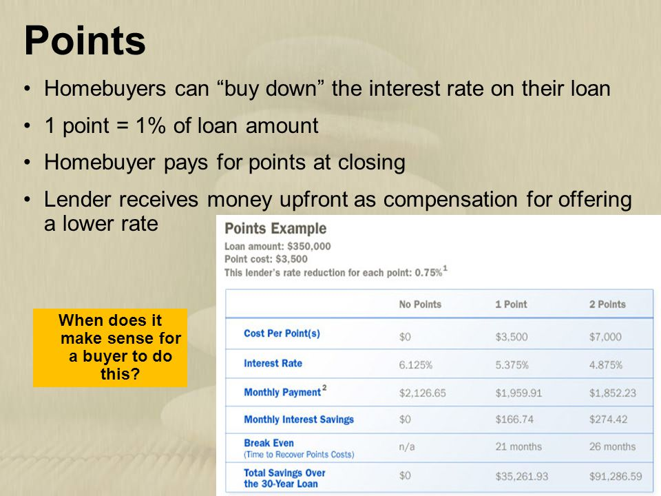 """9   8 Points Homebuyers can """"buy down"""" the interest rate on their loan 1 point = 1% of loan amount Homebuyer pays for points at closing Lender receive"""