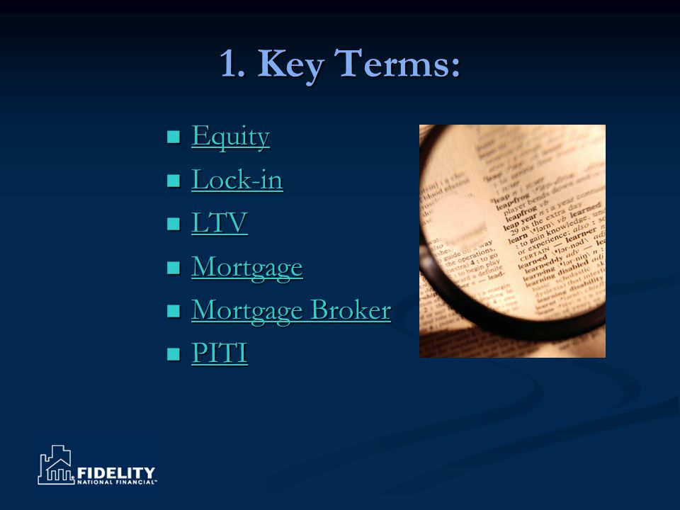 Equity Value of a property minus the debt Back to terms page