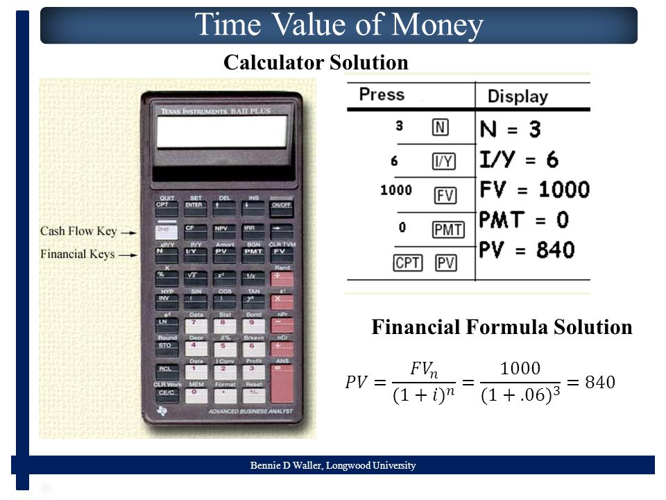 Bennie D Waller, Longwood University Time Value of Money Calculator Solution Financial Formula Solution