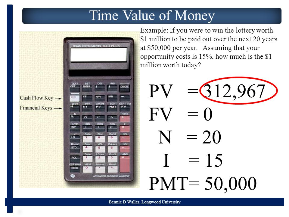 Bennie D Waller, Longwood University Time Value of Money Example: If you were to win the lottery worth $1 million to be paid out over the next 20 years at $50,000 per year.
