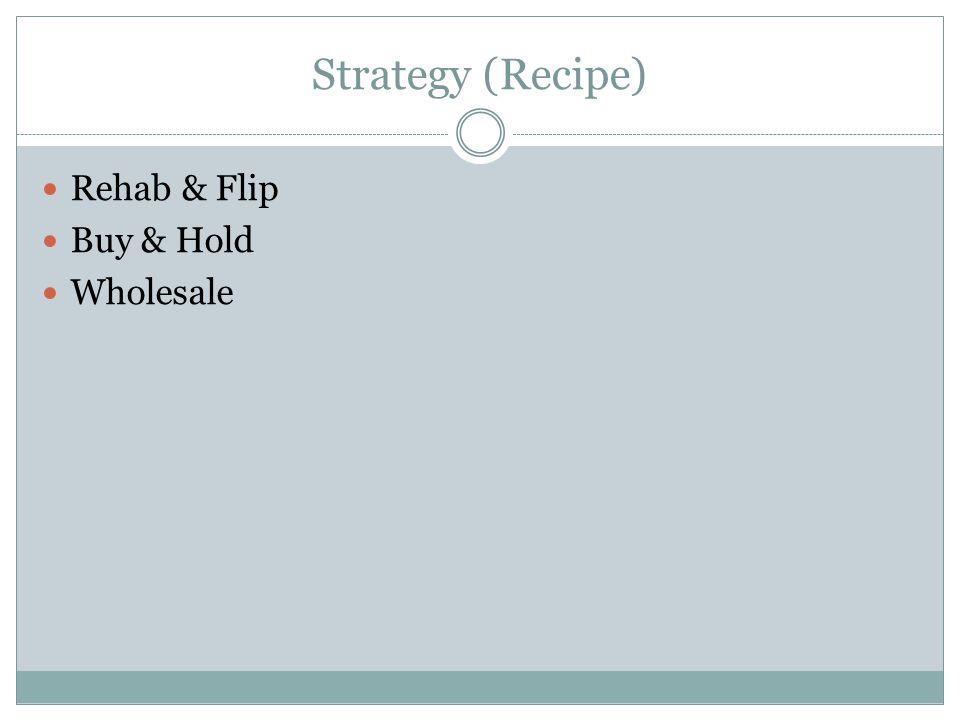 Strategy (Recipe) Rehab & Flip Buy & Hold Wholesale