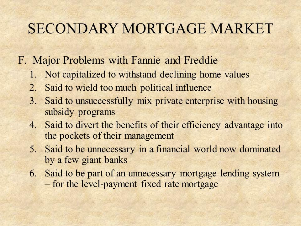 SECONDARY MORTGAGE MARKET F.
