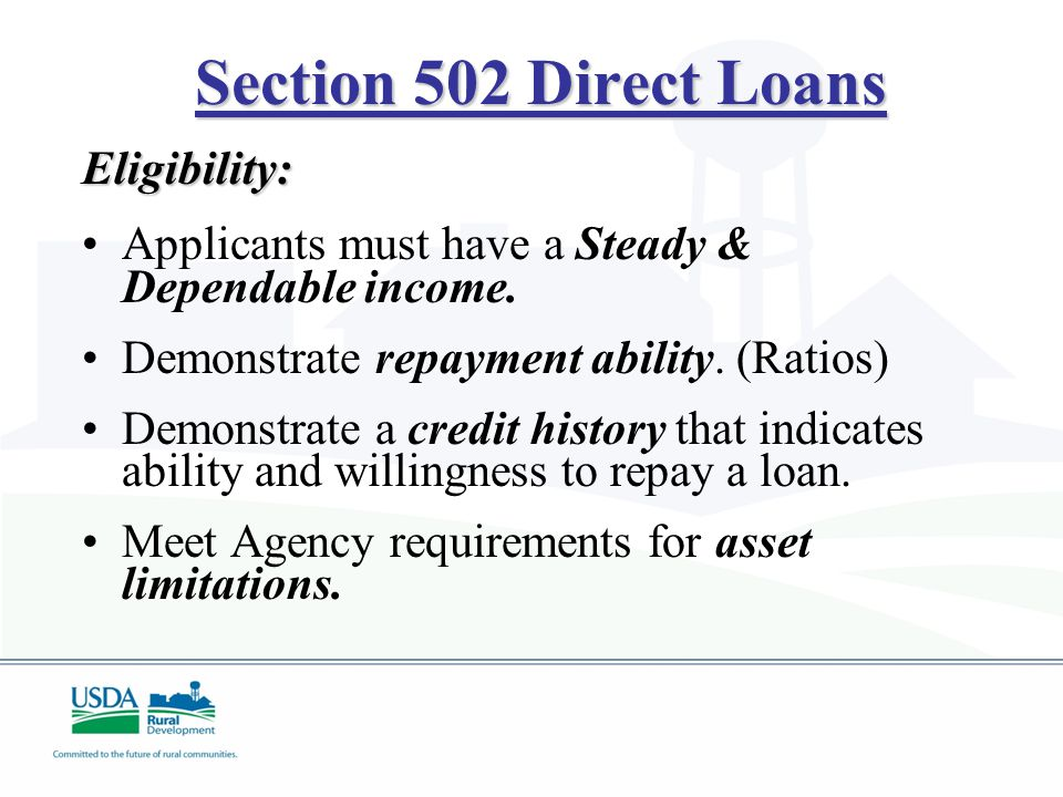 Section 504 Repair Loans Eligibility: Loan applicants must have a credit history that indicates a reasonable ability and willingness to meet debt obligations.