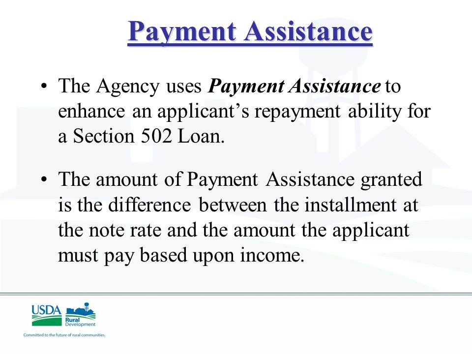 Section 504 Repair Loans and Grants Terms: A loan/grant combination may be made if the applicant cannot repay the entire amount through a loan.