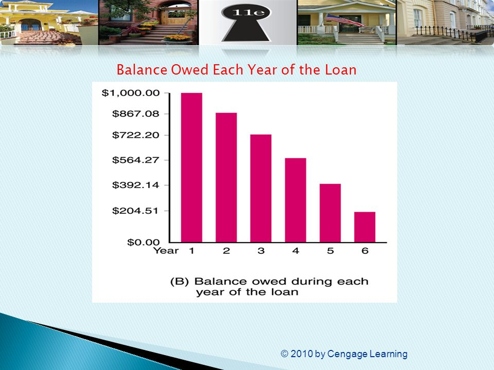 © 2010 by Cengage Learning Balance Owed Each Year of the Loan