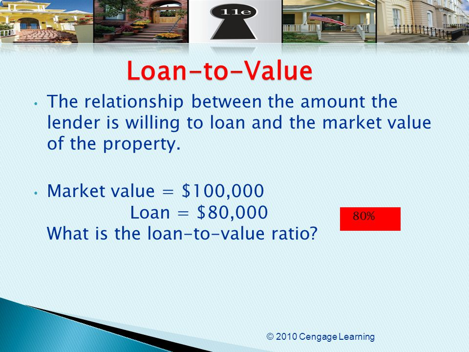 © 2010 Cengage Learning The relationship between the amount the lender is willing to loan and the market value of the property.
