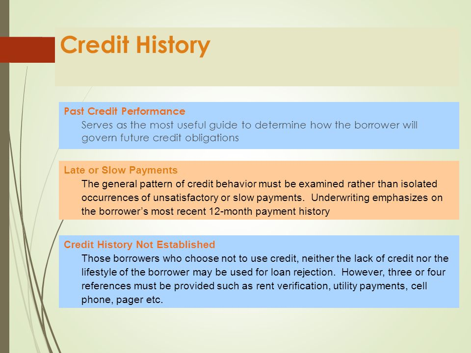 Credit Credit review depends on the type of underwriting performed.