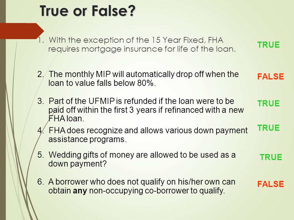 Calculating an FHA Loan  Minimum down-payment = 3.5% X Sales Price  Borrower must be able to document down payment funds either through funds in bank or gift.