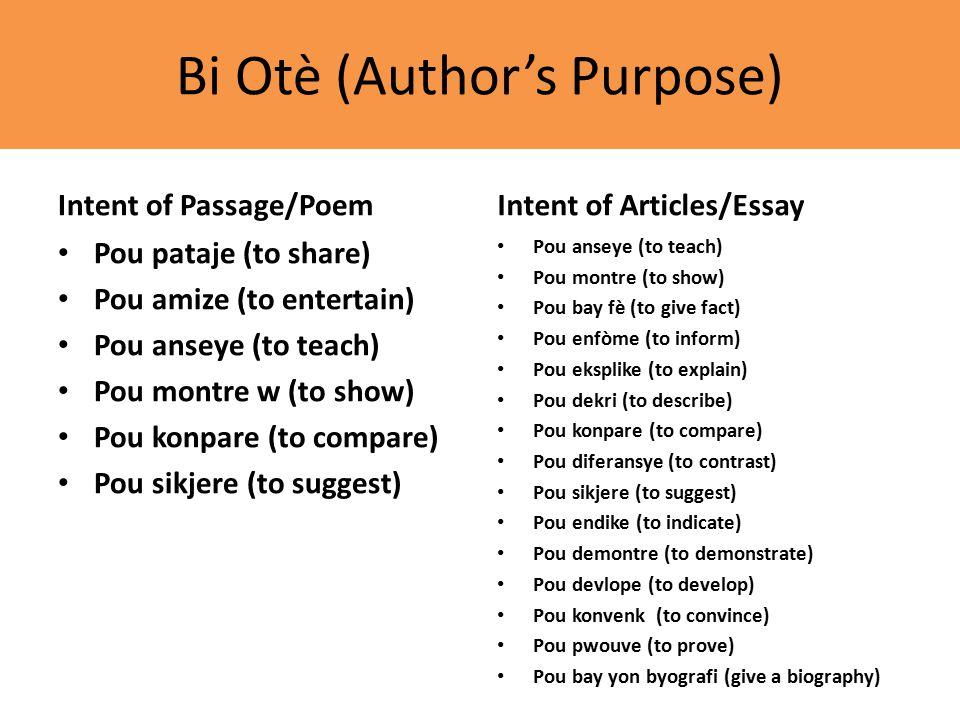 Bi Otè (Author's Purpose) Intent of Passage/Poem Pou pataje (to share) Pou amize (to entertain) Pou anseye (to teach) Pou montre w (to show) Pou konpare (to compare) Pou sikjere (to suggest) Intent of Articles/Essay Pou anseye (to teach) Pou montre (to show) Pou bay fè (to give fact) Pou enfòme (to inform) Pou eksplike (to explain) Pou dekri (to describe) Pou konpare (to compare) Pou diferansye (to contrast) Pou sikjere (to suggest) Pou endike (to indicate) Pou demontre (to demonstrate) Pou devlope (to develop) Pou konvenk (to convince) Pou pwouve (to prove) Pou bay yon byografi (give a biography)