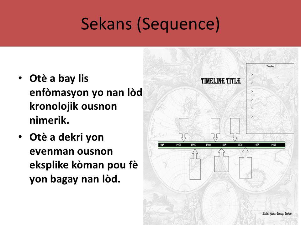 Sekans (Sequence) Otè a bay lis enfòmasyon yo nan lòd kronolojik ousnon nimerik.