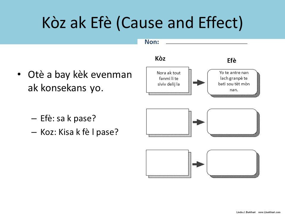 Kòz ak Efè (Cause and Effect) Otè a bay kèk evenman ak konsekans yo.
