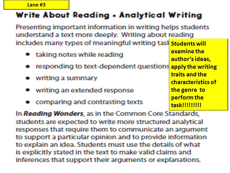 Lane #3 Students will examine the author's ideas, apply the writing traits and the characteristics of the genre to perform the task!!!!!!!!!