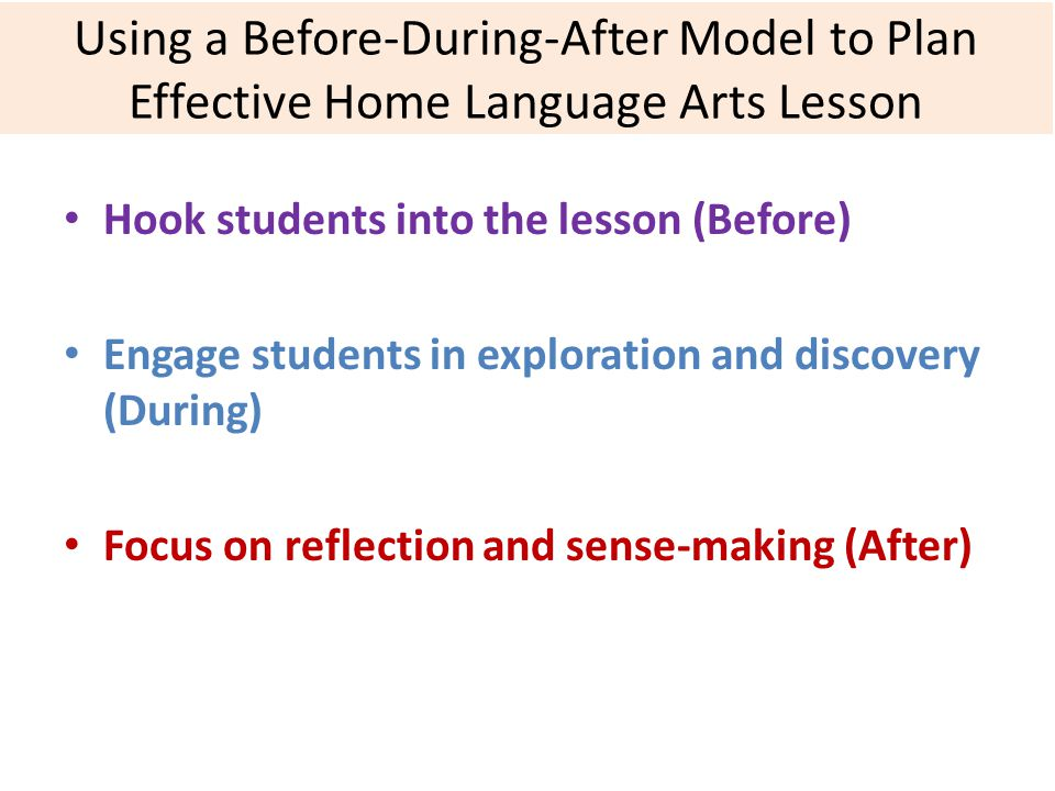 Using a Before-During-After Model to Plan Effective Home Language Arts Lesson Hook students into the lesson (Before) Engage students in exploration and discovery (During) Focus on reflection and sense-making (After)