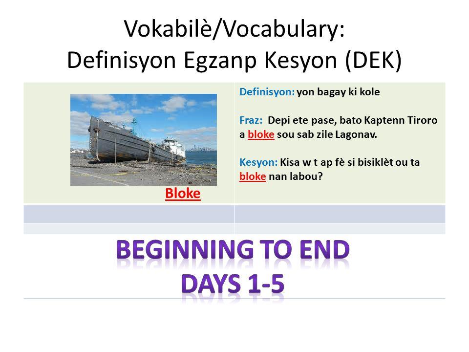 Vokabilè/Vocabulary: Definisyon Egzanp Kesyon (DEK) Bloke Definisyon: yon bagay ki kole Fraz: Depi ete pase, bato Kaptenn Tiroro a bloke sou sab zile Lagonav.