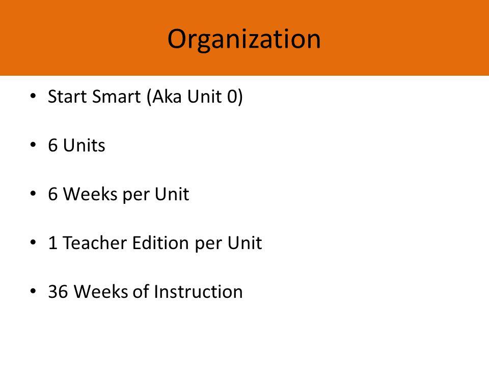 Organization Start Smart (Aka Unit 0) 6 Units 6 Weeks per Unit 1 Teacher Edition per Unit 36 Weeks of Instruction