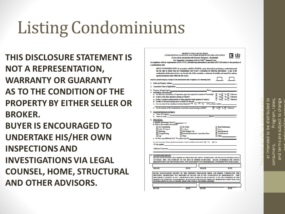 Listing Condominiums This is not an offer to extend credit or intended to be distributed to consumers.