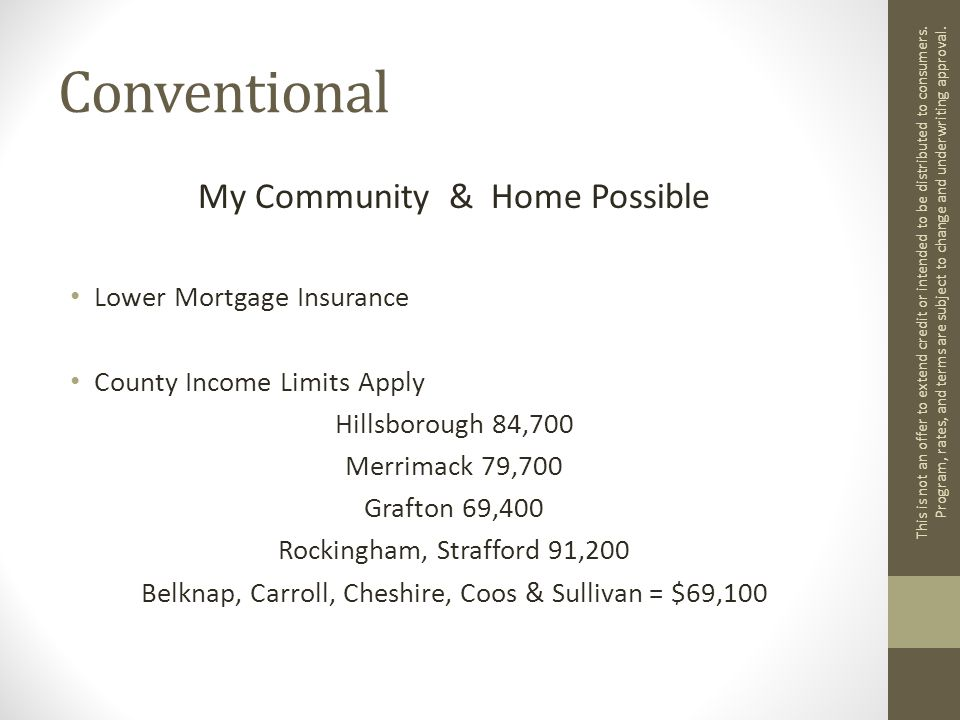 Conventional My Community & Home Possible Lower Mortgage Insurance County Income Limits Apply Hillsborough 84,700 Merrimack 79,700 Grafton 69,400 Rockingham, Strafford 91,200 Belknap, Carroll, Cheshire, Coos & Sullivan = $69,100 This is not an offer to extend credit or intended to be distributed to consumers.
